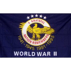 WWII A Grateful Nation 3'x 5' Economy Flag