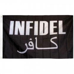 Infidel with Arabic Black 3'x 5' Novelty Flag