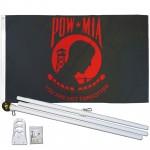 POW MIA Red 3' x 5' Polyester Flag, Pole and Mount