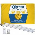 Corona Extra La Cerveza Mas Fina 3' x 5' Polyester Flag, Pole and Mount