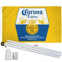 Corona Extra La Cerveza Mas Fina 3' x 5' Polyester Flag, Pole and Mount