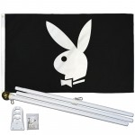 Playboy Bunny Black 3' x 5' Polyester Flag, Pole and Mount