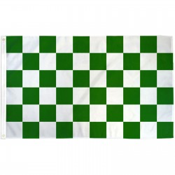 Checkered Green & White 3' x 5' Polyester Flag