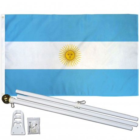 Argentina 3' x 5' Polyester Flag, Pole and Mount
