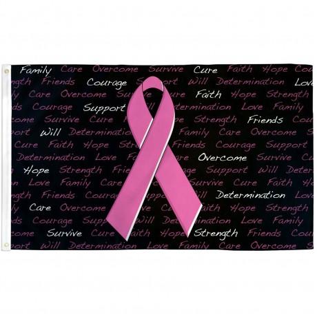 Breast Cancer Awareness Black 3' x 5' Polyester Flag
