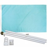 Solid Light Blue 3' x 5' Polyester Flag, Pole and Mount