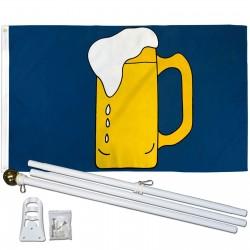 Beer Mug 3' x 5' Polyester Flag, Pole and Mount