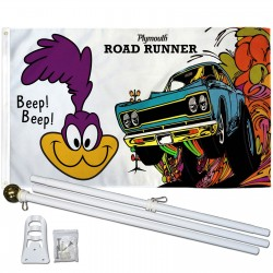 Plymouth Road Runner Car 3' x 5' Polyester Flag, Pole and Mount