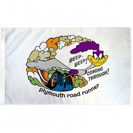 Plymouth Road Runner White 3' x 5' Polyester Flag