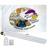 Plymouth Road Runner White 3' x 5' Polyester Flag, Pole and Mount