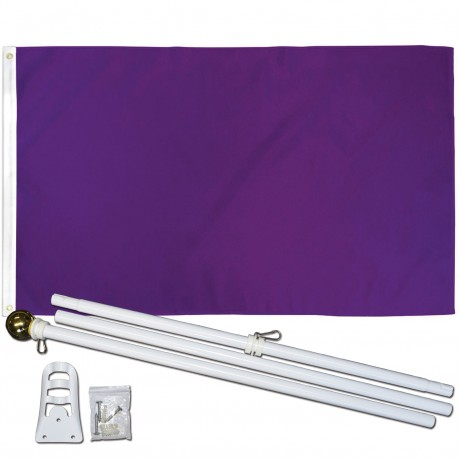 Solid Purple 3' x 5' Polyester Flag, Pole and Mount