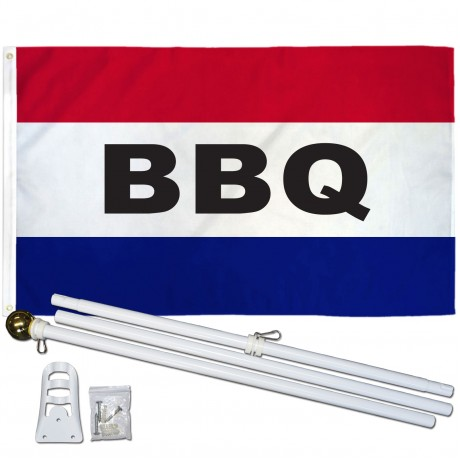 BBQ Patriotic 3' x 5' Polyester Flag, Pole and Mount