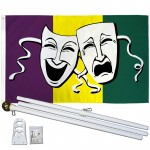 Thespian Comedy Tragedy 3' x 5' Polyester Flag, Pole and Mount