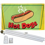 Hot Dogs 3' x 5' Polyester Flag, Pole and Mount