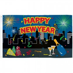 Happy New Year City 3' x 5' Polyester Flag