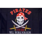 Will Work for Rum Pirate Premium 3'x 5' Flag