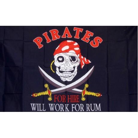 Will Work for Rum Pirate Premium 3'x 5' Flag