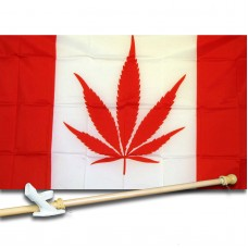 Canada Marijuana 3' x 5' Polyester Flag, Pole and Mount