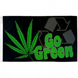 Go Green Marijuana 3' x 5' Polyester Flag