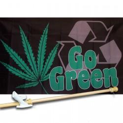 Go Green Marijuana 3' x 5' Polyester Flag, Pole and Mount