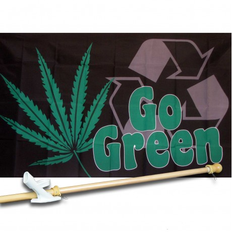 Go Green Marijuana 3' x 5' Polyester Flag, Pole and Mount