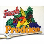 Fresh Produce 3' x 5' Polyester Flag, Pole and Mount