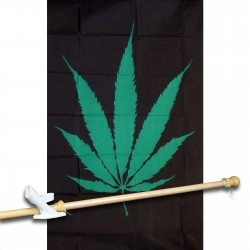 Marijuana Leaf Vertical 3' x 5' Polyester Flag, Pole and Mount