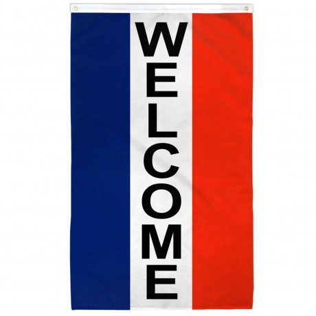Welcome Vertical Patriotic 3' x 5' Polyester Flag