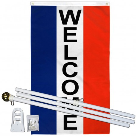 Welcome Vertical Patriotic 3' x 5' Polyester Flag, Pole and Mount