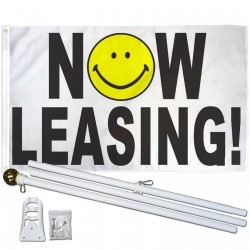 Now Leasing Smiley Face 3' x 5' Polyester Flag, Pole and Mount
