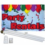 Party Rentals 3' x 5' Polyester Flag, Pole and Mount