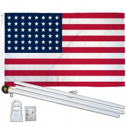 USA Historical 48 Star 3' x 5' Polyester Flag, Pole and Mount