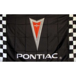 Pontiac With Checkers Automotive Logo 3'x 5' Flag