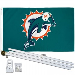 Miami Dolphins 3'x 5' Polyester Flag, Pole and Mount