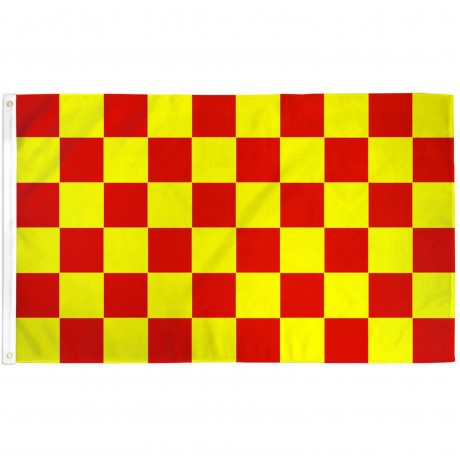 Checkered Red & Yellow 3' x 5' Polyester Flag