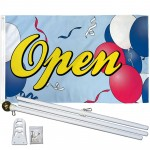 Open Balloons 3' x 5' Polyester Flag, Pole and Mount