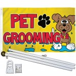 Pet Grooming 3' x 5' Polyetser Flag, Pole and Mount