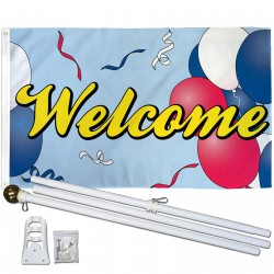 Welcome Balloons 3' x 5' Polyester Flag, Pole and Mount