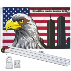 USA No Forgetting 9/11 3' x 5' Polyester Flag, Pole and Mount