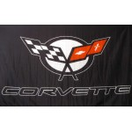 Corvette Black 3' x 5' Automotive Flag