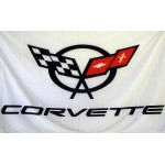 Corvette White 3'x 5' Automotive Flag