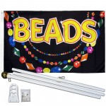 Beads 3' x 5' Polyestser Flag, Pole and Mount
