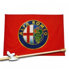 AL FA ROMEO 3' x 5'  Flag, Pole And Mount.