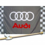 AUDI CHECKERED 3' x 5'  Flag, Pole And Mount.