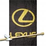 Lexus Black Vertical 3' x 5' Flag, Pole and Mount