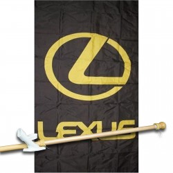 Lexus Black Vertical 3' x 5' Flag, Pole and Mount