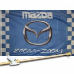 MAZDA ZOOM ZOOM CHECKERED 3' x 5'  Flag, Pole And Mount.