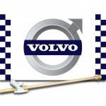 VOLVO CHECKERED 3' x 5'  Flag, Pole And Mount.