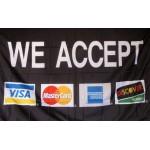 We Accept VISA Mastercard AMX Discover Black 3' x 5' Polyester Flag