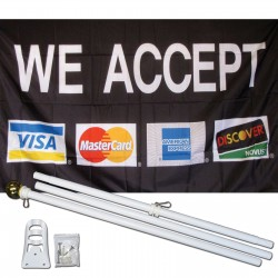 We Accept VISA Mastercard AMX Discover Black 3' x 5' Polyester Flag, Pole and Mount